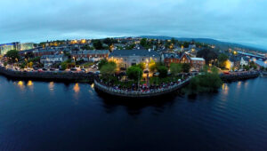 An Aerial view of the crowds waiting for the Fireworks Display for Riverfest 2014. Pic Tony Grehan Photography