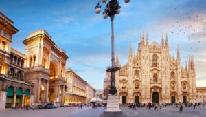Piazza Duomo with Galleria Vittorio Emanuele II and  Milan Cathedral, Italy